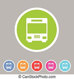Bus icon flat web sign symbol logo label