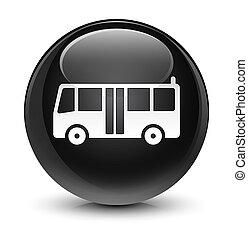 Bus icon glassy black round button