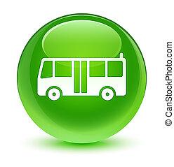 Bus icon glassy green round button