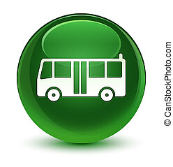 Bus icon glassy soft green round button