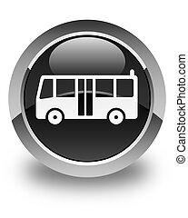 Bus icon glossy black round button
