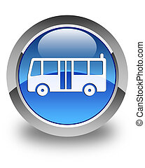 Bus icon glossy blue round button