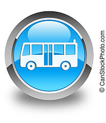 Bus icon glossy cyan blue round button