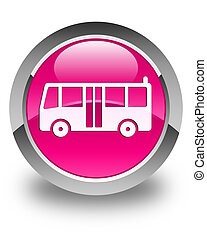 Bus icon glossy pink round button