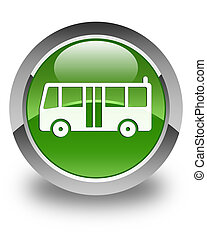 Bus icon glossy soft green round button