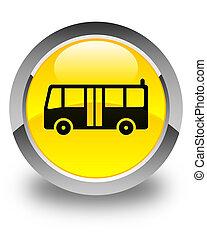 Bus icon glossy yellow round button
