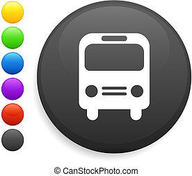 bus icon on round internet button