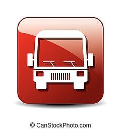 bus icon over square button isolated design