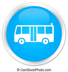 Bus icon premium cyan blue round button