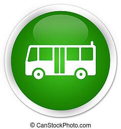 Bus icon premium green round button