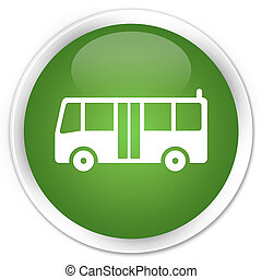 Bus icon premium soft green round button