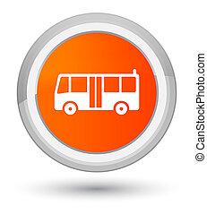 Bus icon prime orange round button