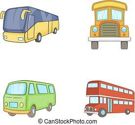 Bus icon set, cartoon style