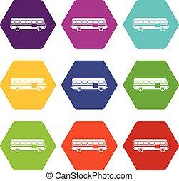 Bus icon set color hexahedron