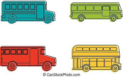 Bus icon set, color outline style