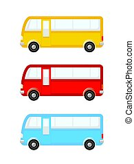 Bus icon set different colors side view
