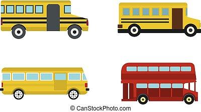 Bus icon set, flat style