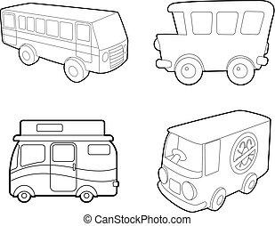 Bus icon set, outline style