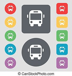 Bus icon sign. A set of 12 colored buttons. Flat design. Vector