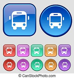Bus icon sign. A set of twelve vintage buttons for your design. Vector