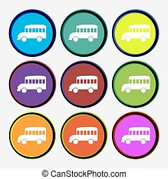 Bus icon sign. Nine multi colored round buttons. Vector