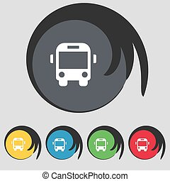 Bus icon sign. Symbol on five colored buttons. Vector
