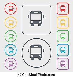 Bus icon sign. symbol on the Round and square buttons with frame. Vector
