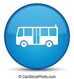 Bus icon special cyan blue round button