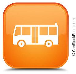 Bus icon special orange square button