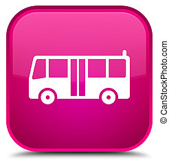 Bus icon special pink square button