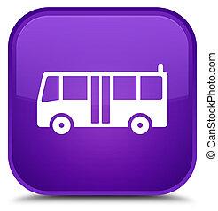 Bus icon special purple square button