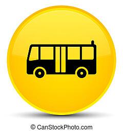 Bus icon special yellow round button