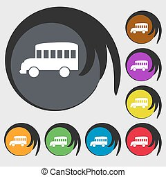 Bus icon. Symbols on eight colored buttons. Vector