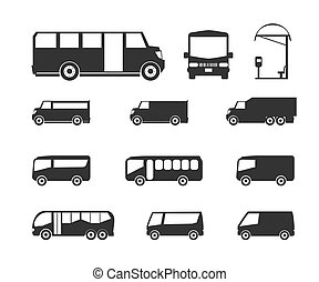 Bus icons - Vector set of different bus