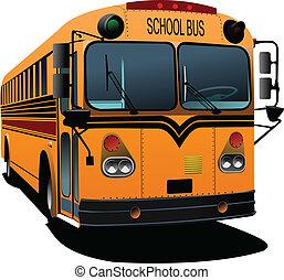 bus., illustra, vetorial, amarela, escola