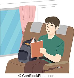 bus, illustration, bog, læs, guy, teenager