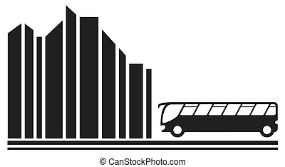 bus in city black silhouette - travel symbol with moving bus...