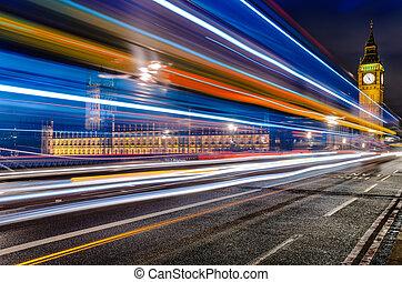 Bus in front of Big Ben, London