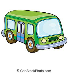 bus in green, cartoon illustration, isolated object on a white background, vector illustration,