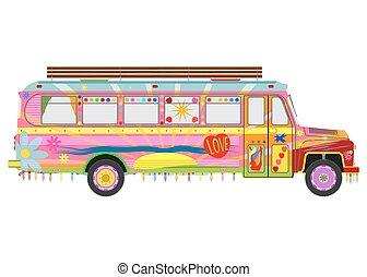 bus, kleurrijke
