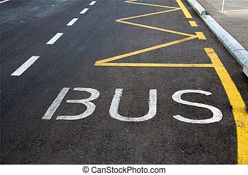 Bus lane sign painted on road.