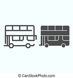 Bus line and solid icon. Double-decker bus vector illustration isolated on white. London city tour bus outline style design, designed for web and app. Eps 10.