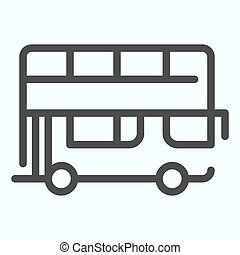 Bus line icon. Double-decker bus vector illustration isolated on white. London city tour bus outline style design, designed for web and app. Eps 10.