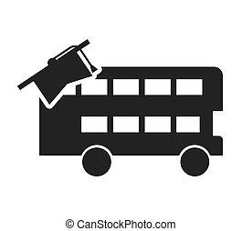 bus, londen, leren, pictogram