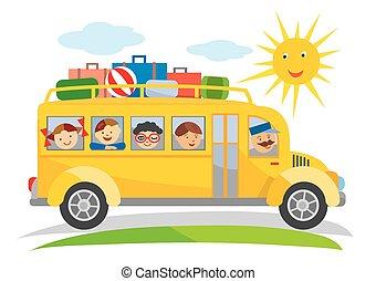 bus, onderricht reis, spotprent