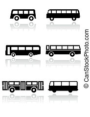 Bus or van symbol vector set.