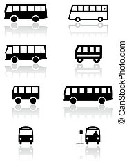 Vector illustration set of different bus or van symbols. All vector objects are isolated. Colors and transparent background color are easy to adjust.