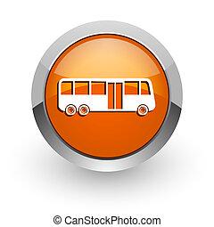 bus orange glossy web icon