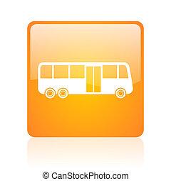 bus orange square glossy web icon