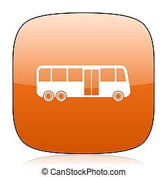 bus orange square web design glossy icon